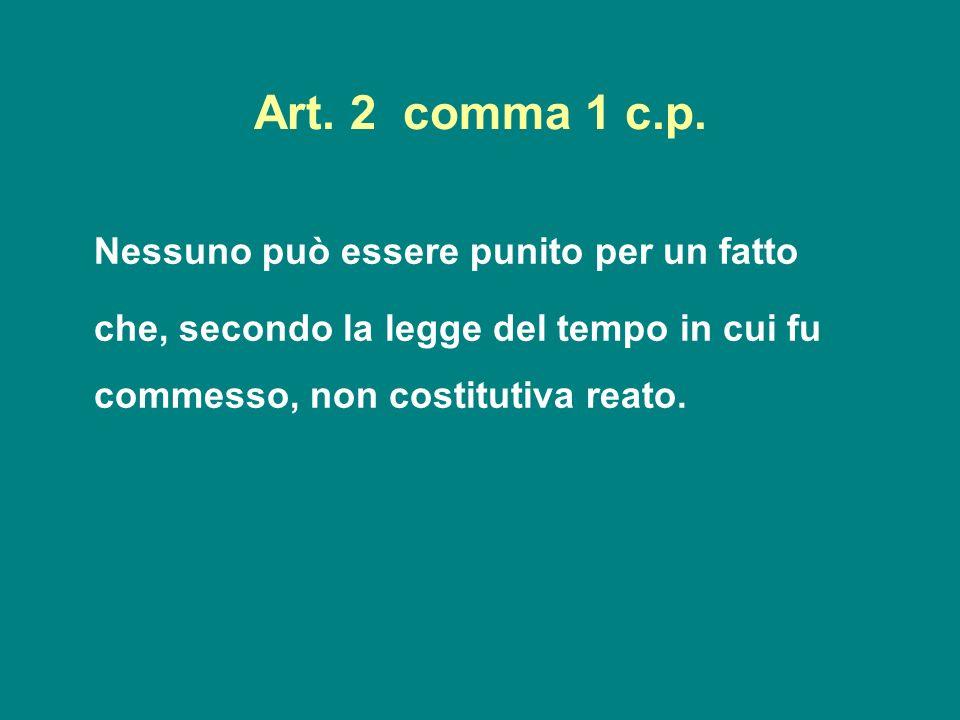 Art. 2 comma 1 c.p. Nessuno può essere punito per un fatto che, secondo la legge del tempo in cui fu commesso, non costitutiva reato.