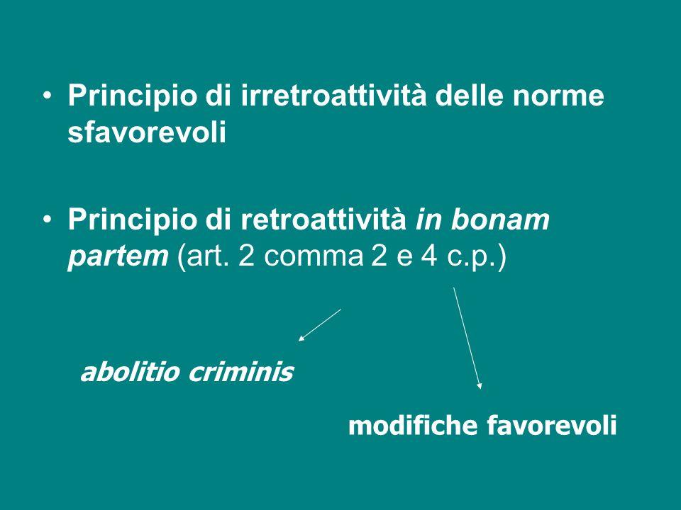 Principio di irretroattività delle norme sfavorevoli Principio di retroattività in bonam partem (art. 2 comma 2 e 4 c.p.) abolitio criminis modifiche