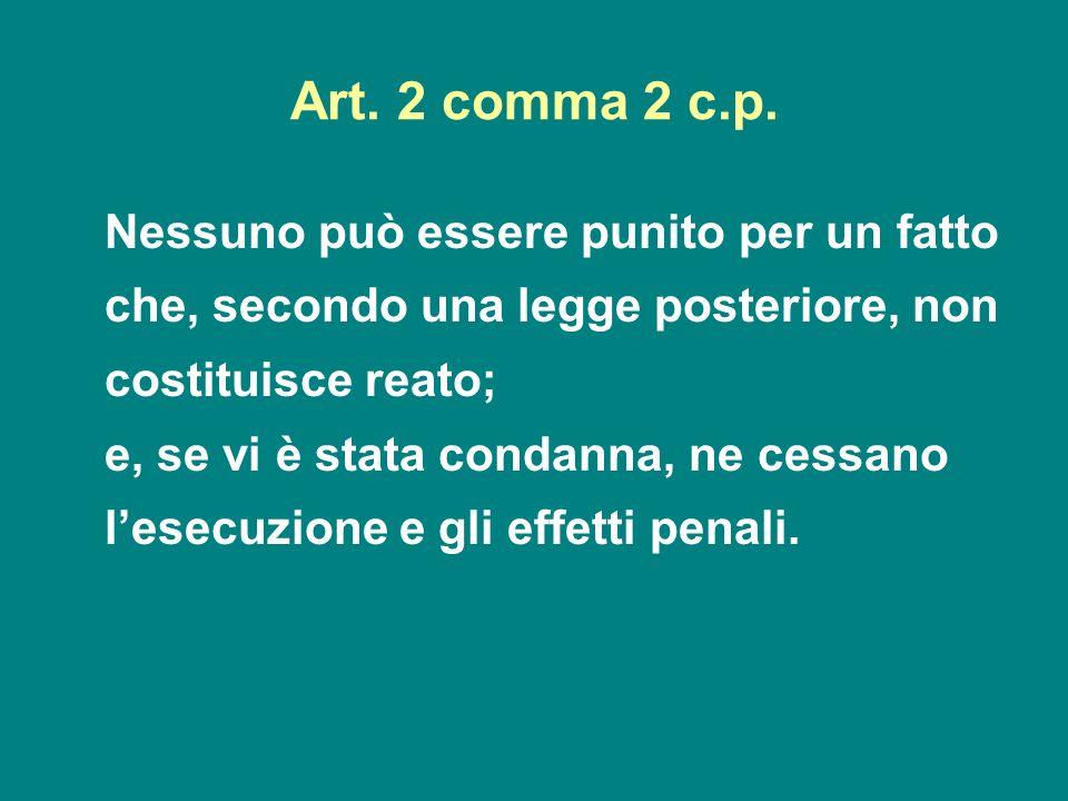 Art. 2 comma 2 c.p. Nessuno può essere punito per un fatto che, secondo una legge posteriore, non costituisce reato; e, se vi è stata condanna, ne ces