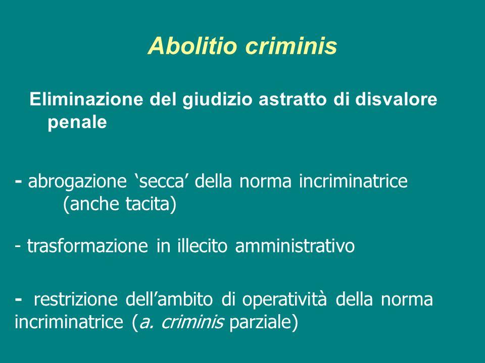 Abolitio criminis Eliminazione del giudizio astratto di disvalore penale - abrogazione secca della norma incriminatrice (anche tacita) - trasformazion