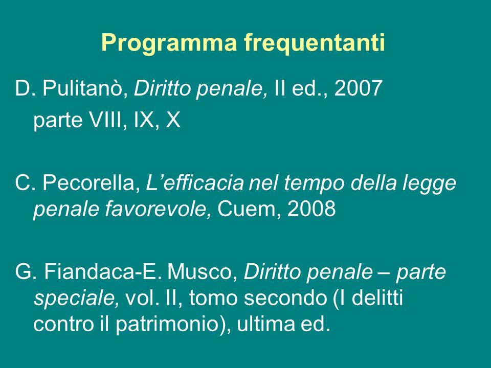 Programma frequentanti D. Pulitanò, Diritto penale, II ed., 2007 parte VIII, IX, X C. Pecorella, Lefficacia nel tempo della legge penale favorevole, C