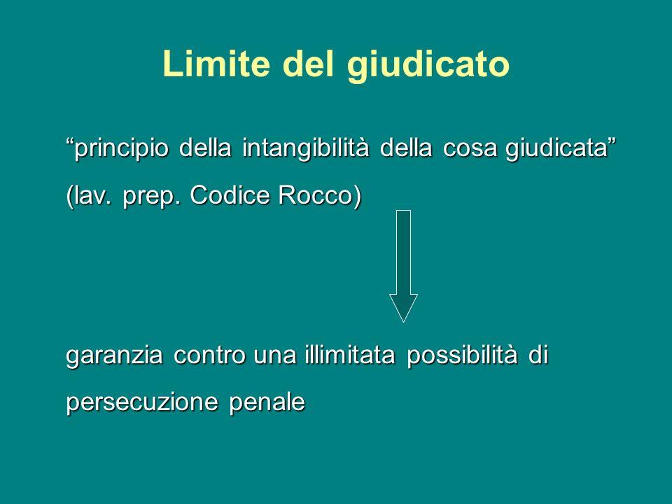 Limite del giudicato principio della intangibilità della cosa giudicata (lav. prep. Codice Rocco) garanzia contro una illimitata possibilità di persec