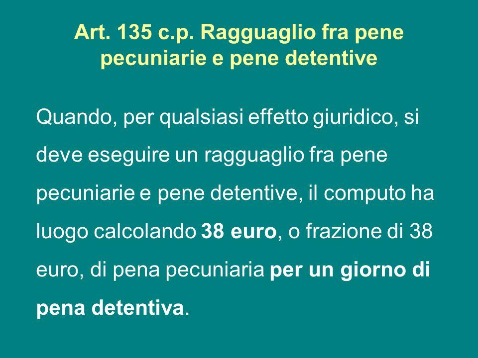 Art. 135 c.p. Ragguaglio fra pene pecuniarie e pene detentive Quando, per qualsiasi effetto giuridico, si deve eseguire un ragguaglio fra pene pecunia