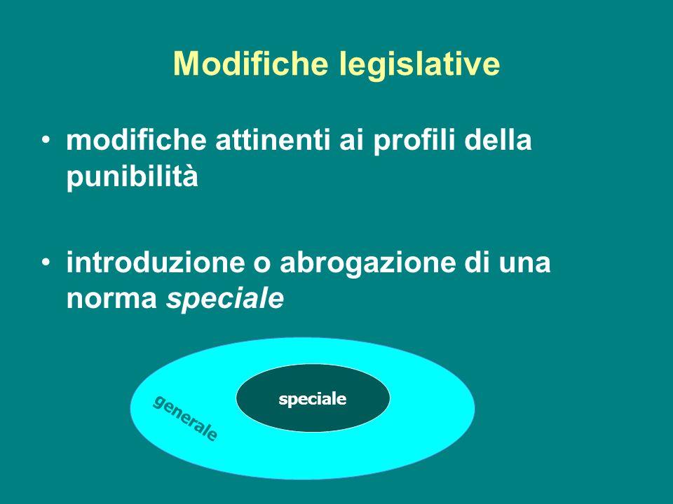 Modifiche legislative modifiche attinenti ai profili della punibilità introduzione o abrogazione di una norma speciale speciale generale