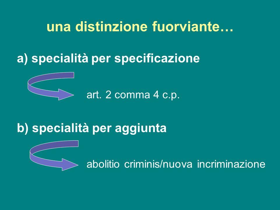 una distinzione fuorviante… a) specialità per specificazione art. 2 comma 4 c.p. b) specialità per aggiunta abolitio criminis/nuova incriminazione