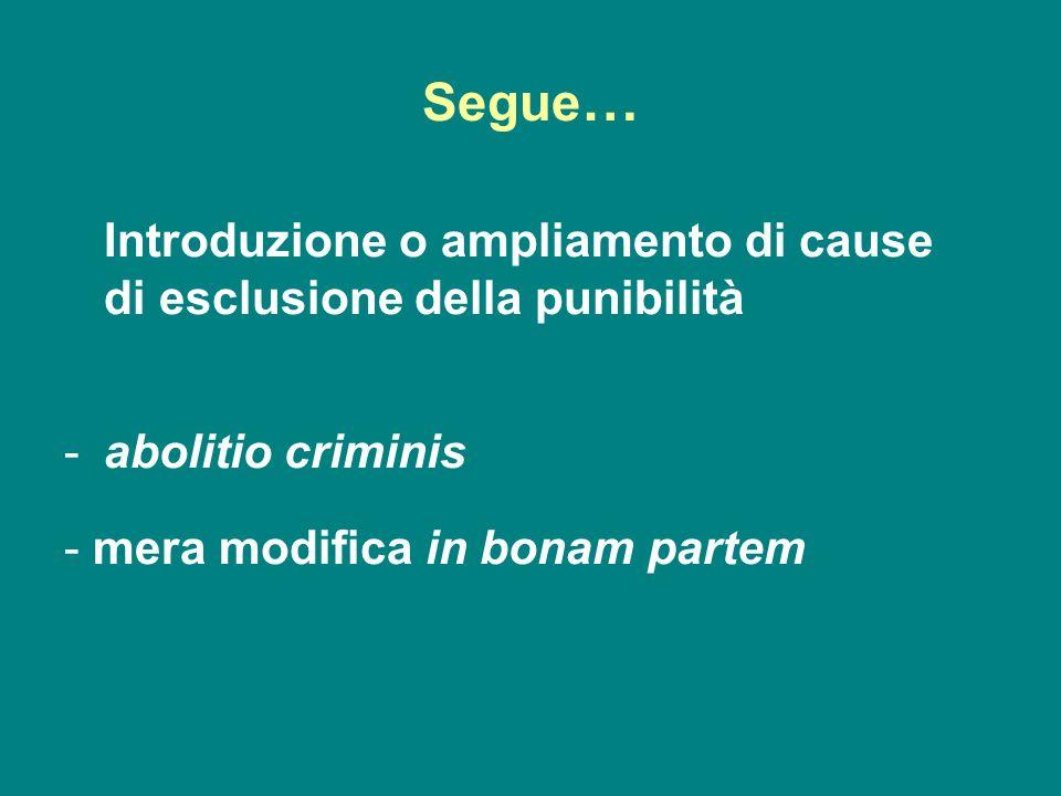 Segue … Introduzione o ampliamento di cause di esclusione della punibilità -abolitio criminis - mera modifica in bonam partem