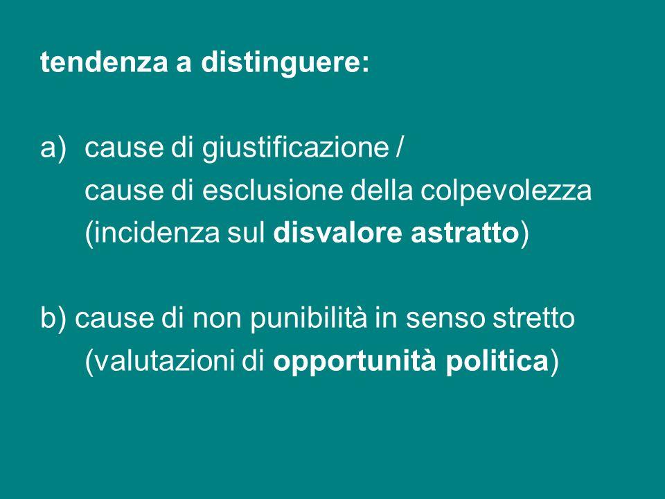 tendenza a distinguere: a)cause di giustificazione / cause di esclusione della colpevolezza (incidenza sul disvalore astratto) b) cause di non punibil
