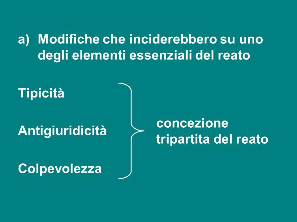 a)Modifiche che inciderebbero su uno degli elementi essenziali del reato Tipicità Antigiuridicità Colpevolezza concezione tripartita del reato