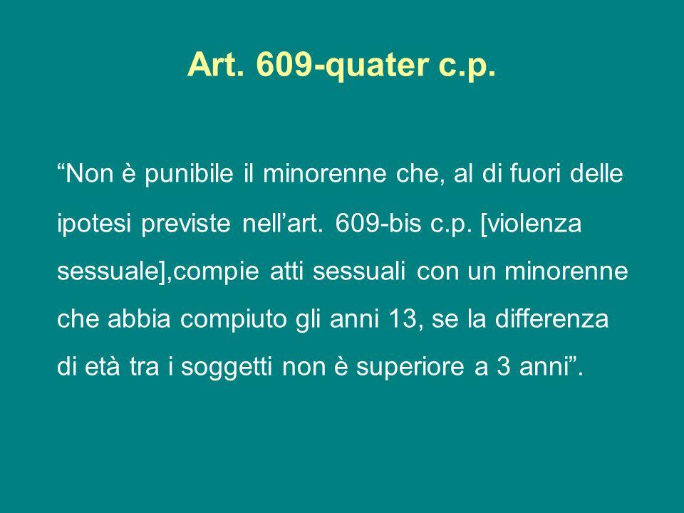 Art. 609-quater c.p. Non è punibile il minorenne che, al di fuori delle ipotesi previste nellart. 609-bis c.p. [violenza sessuale],compie atti sessual