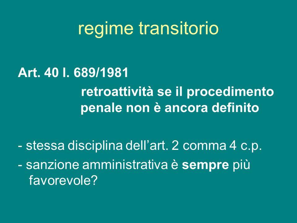 regime transitorio Art. 40 l. 689/1981 retroattività se il procedimento penale non è ancora definito - stessa disciplina dellart. 2 comma 4 c.p. - san