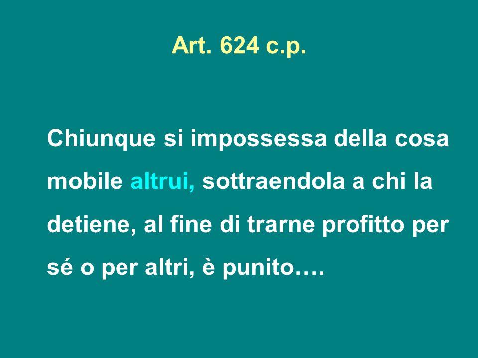 Art. 624 c.p. Chiunque si impossessa della cosa mobile altrui, sottraendola a chi la detiene, al fine di trarne profitto per sé o per altri, è punito…