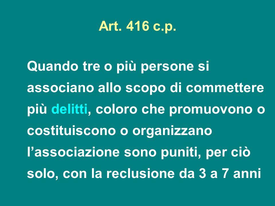 Art. 416 c.p. Quando tre o più persone si associano allo scopo di commettere più delitti, coloro che promuovono o costituiscono o organizzano lassocia