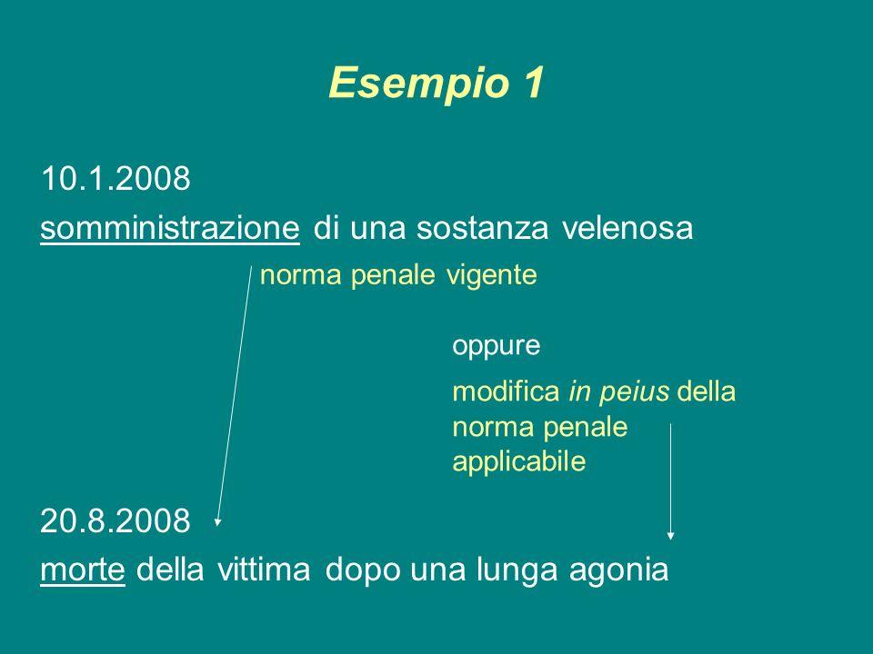 Esempio 1 10.1.2008 somministrazione di una sostanza velenosa 20.8.2008 morte della vittima dopo una lunga agonia modifica in peius della norma penale