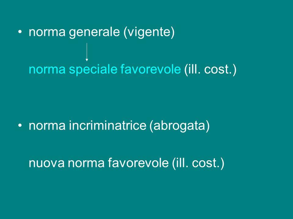 norma generale (vigente) norma speciale favorevole (ill. cost.) norma incriminatrice (abrogata) nuova norma favorevole (ill. cost.)