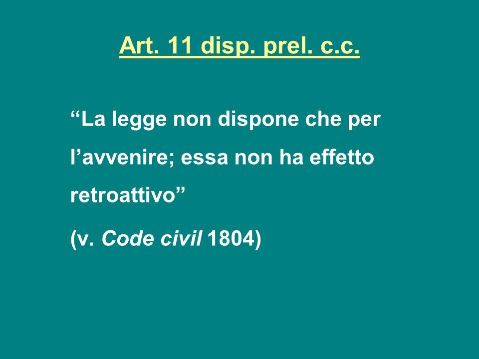 Art. 11 disp. prel. c.c. La legge non dispone che per lavvenire; essa non ha effetto retroattivo (v. Code civil 1804)