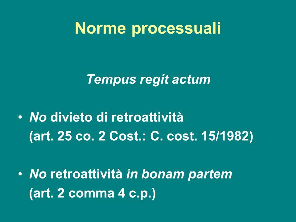 Norme processuali Tempus regit actum No divieto di retroattività (art. 25 co. 2 Cost.: C. cost. 15/1982) No retroattività in bonam partem (art. 2 comm