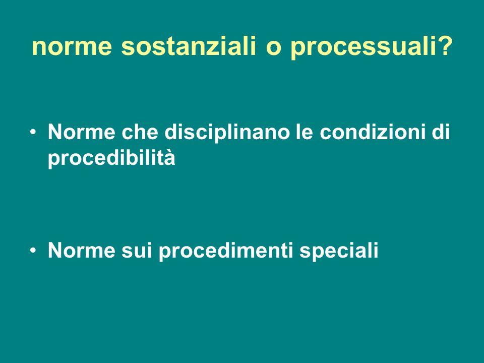 norme sostanziali o processuali? Norme che disciplinano le condizioni di procedibilità Norme sui procedimenti speciali