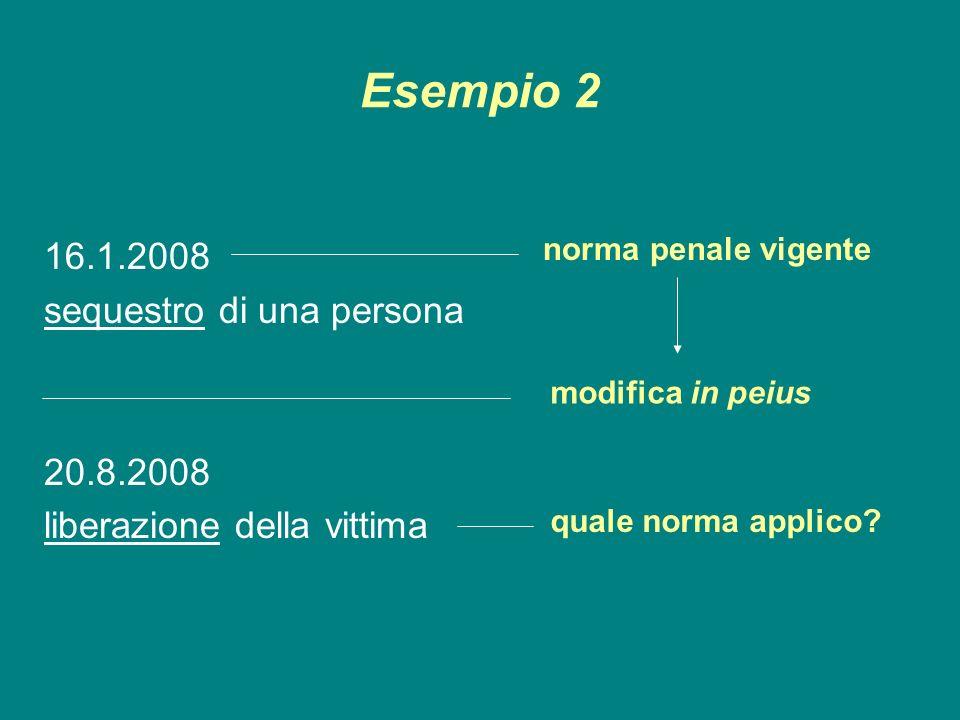 Esempio 2 16.1.2008 sequestro di una persona 20.8.2008 liberazione della vittima norma penale vigente modifica in peius quale norma applico?