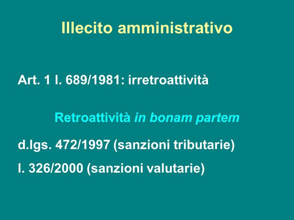 Illecito amministrativo Art. 1 l. 689/1981: irretroattività Retroattività in bonam partem d.lgs. 472/1997 (sanzioni tributarie) l. 326/2000 (sanzioni