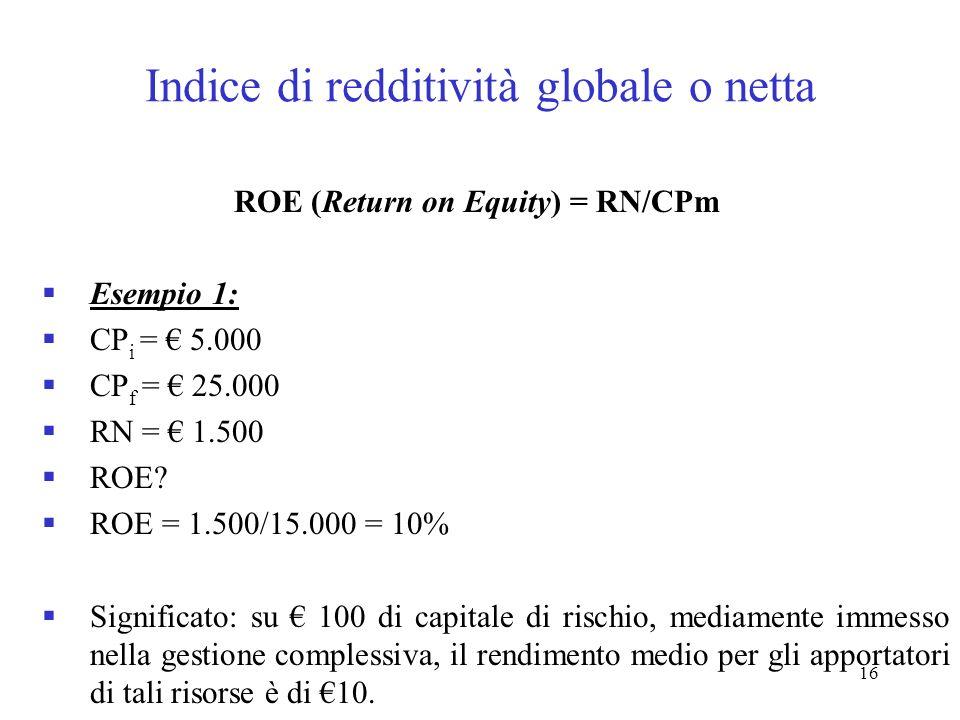 16 Indice di redditività globale o netta ROE (Return on Equity) = RN/CPm Esempio 1: CP i = 5.000 CP f = 25.000 RN = 1.500 ROE? ROE = 1.500/15.000 = 10