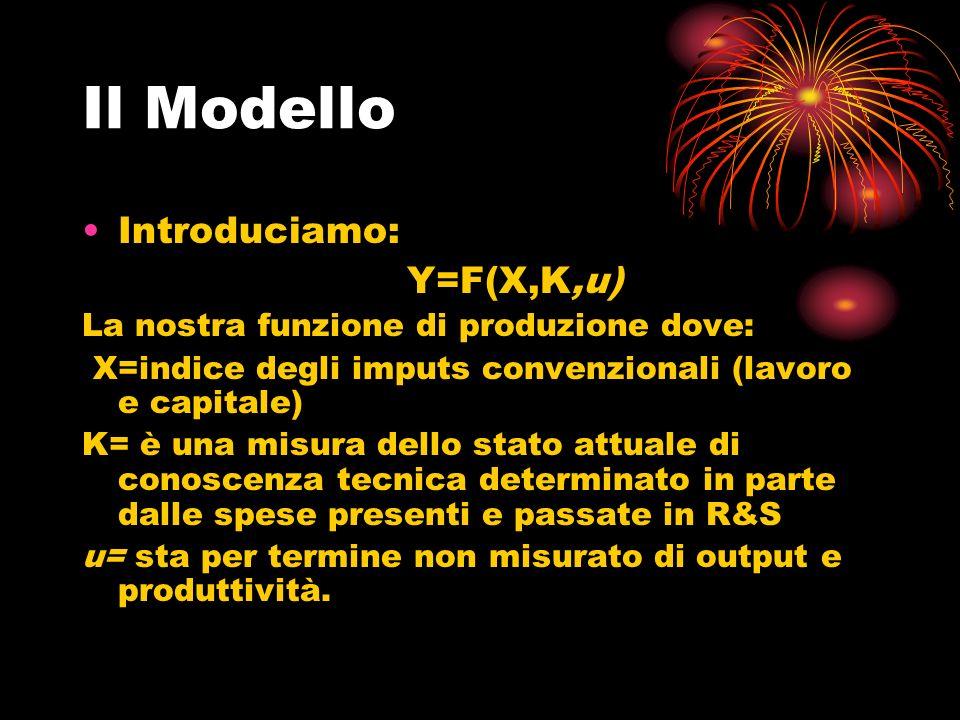Il Modello Introduciamo: Y=F(X,K,u) La nostra funzione di produzione dove: X=indice degli imputs convenzionali (lavoro e capitale) K= è una misura dello stato attuale di conoscenza tecnica determinato in parte dalle spese presenti e passate in R&S u= sta per termine non misurato di output e produttività.