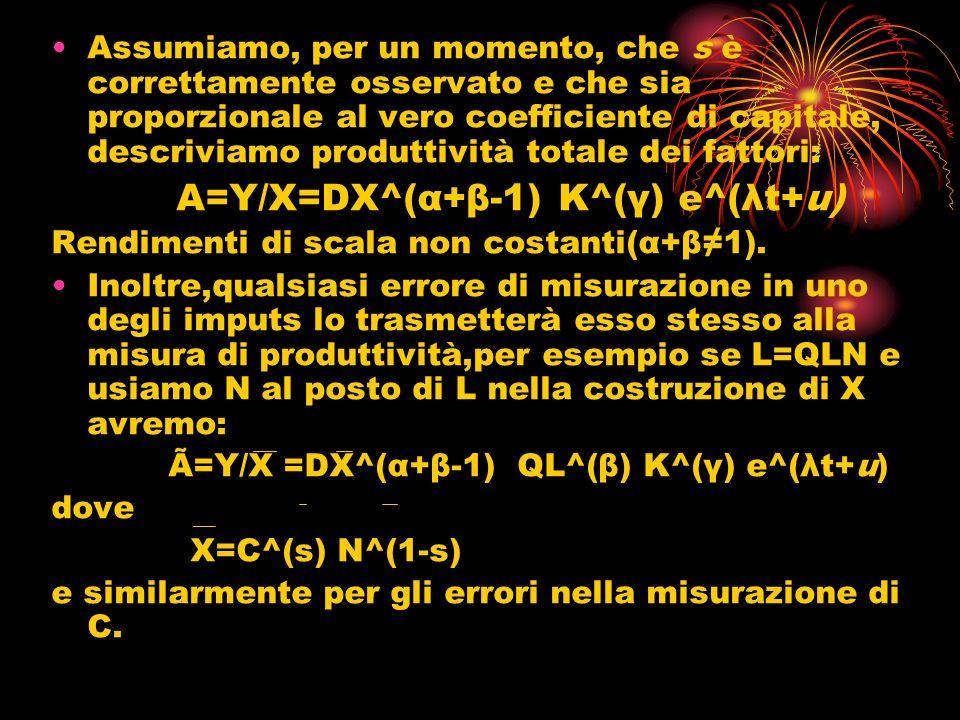 Assumiamo, per un momento, che s è correttamente osservato e che sia proporzionale al vero coefficiente di capitale, descriviamo produttività totale dei fattori: A=Y/X=DX^(α+β-1) K^(γ) e^(λt+u) Rendimenti di scala non costanti(α+β1).