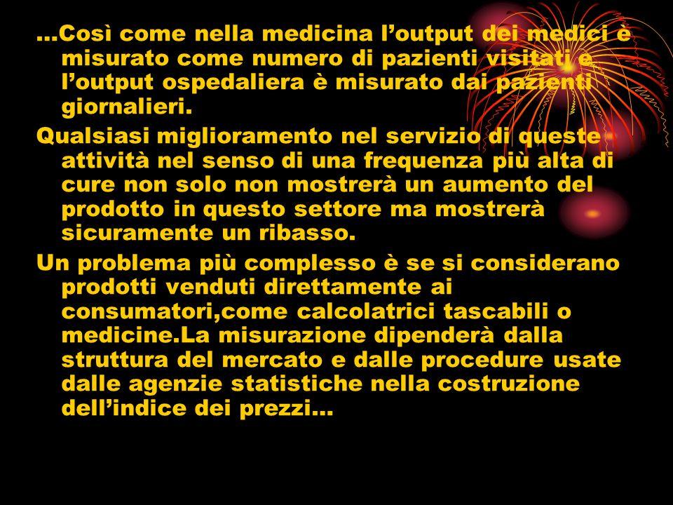 …Così come nella medicina loutput dei medici è misurato come numero di pazienti visitati e loutput ospedaliera è misurato dai pazienti giornalieri.
