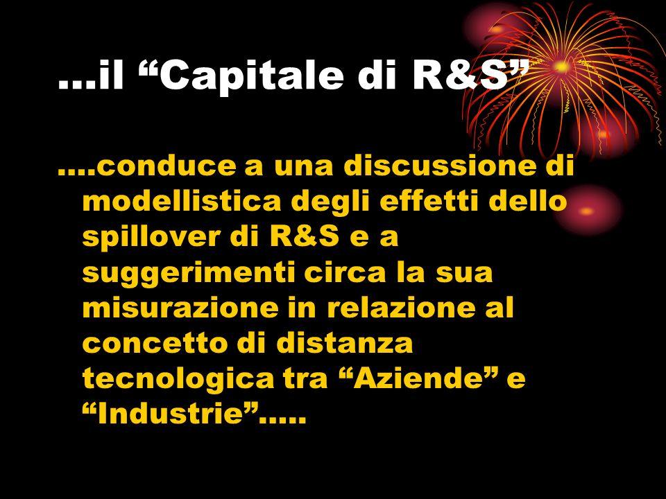 …il Capitale di R&S ….conduce a una discussione di modellistica degli effetti dello spillover di R&S e a suggerimenti circa la sua misurazione in relazione al concetto di distanza tecnologica tra Aziende e Industrie…..