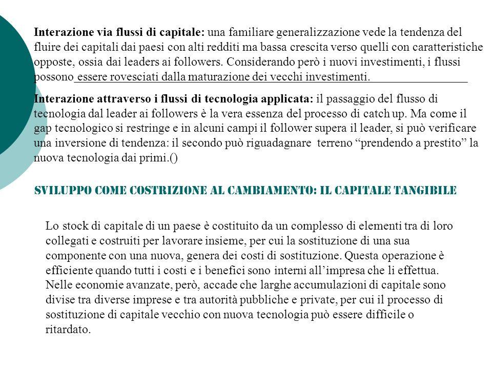 Interazione via flussi di capitale: una familiare generalizzazione vede la tendenza del fluire dei capitali dai paesi con alti redditi ma bassa crescita verso quelli con caratteristiche opposte, ossia dai leaders ai followers.