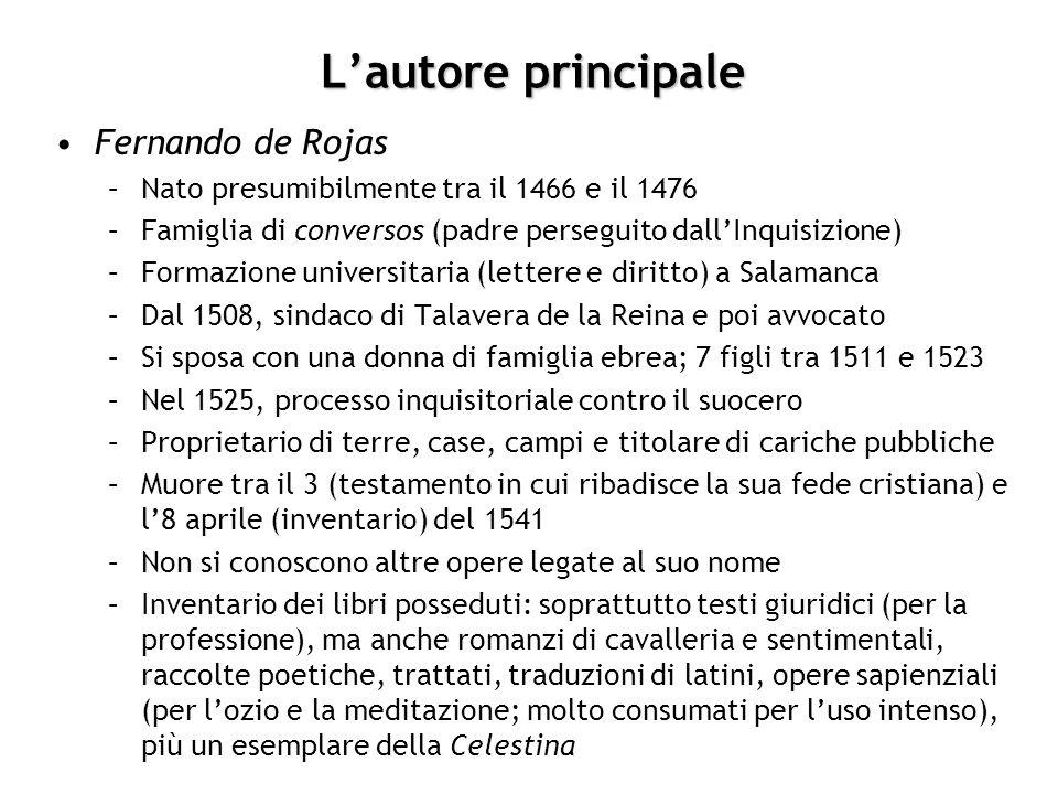 Lautore principale Fernando de Rojas –Nato presumibilmente tra il 1466 e il 1476 –Famiglia di conversos (padre perseguito dallInquisizione) –Formazion