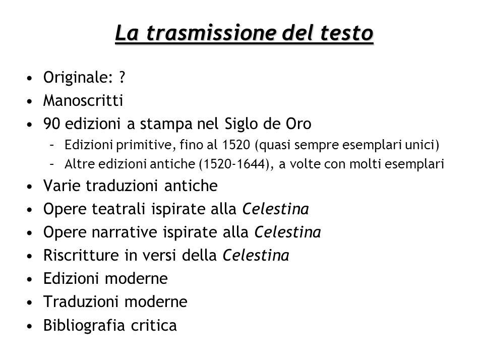 La trasmissione del testo Originale: ? Manoscritti 90 edizioni a stampa nel Siglo de Oro –Edizioni primitive, fino al 1520 (quasi sempre esemplari uni