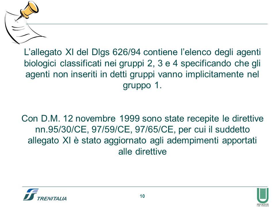10 Lallegato XI del Dlgs 626/94 contiene lelenco degli agenti biologici classificati nei gruppi 2, 3 e 4 specificando che gli agenti non inseriti in d