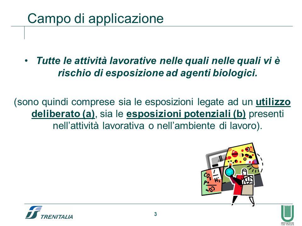 3 Campo di applicazione Tutte le attività lavorative nelle quali nelle quali vi è rischio di esposizione ad agenti biologici. (sono quindi comprese si