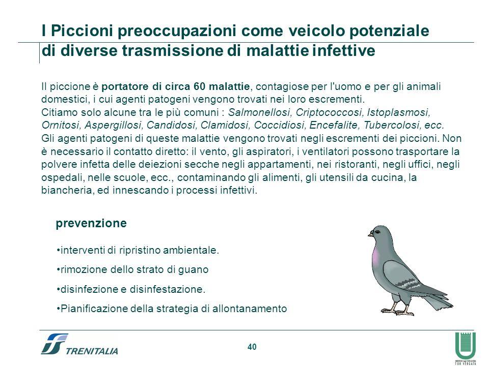 40 Il piccione è portatore di circa 60 malattie, contagiose per l'uomo e per gli animali domestici, i cui agenti patogeni vengono trovati nei loro esc