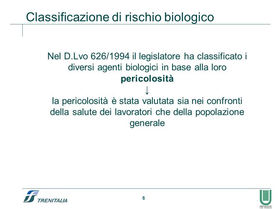 6 Classificazione di rischio biologico Nel D.Lvo 626/1994 il legislatore ha classificato i diversi agenti biologici in base alla loro pericolosità la