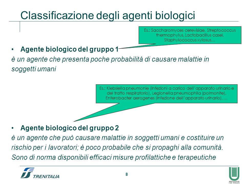 8 Classificazione degli agenti biologici Agente biologico del gruppo 1 è un agente che presenta poche probabilità di causare malattie in soggetti uman
