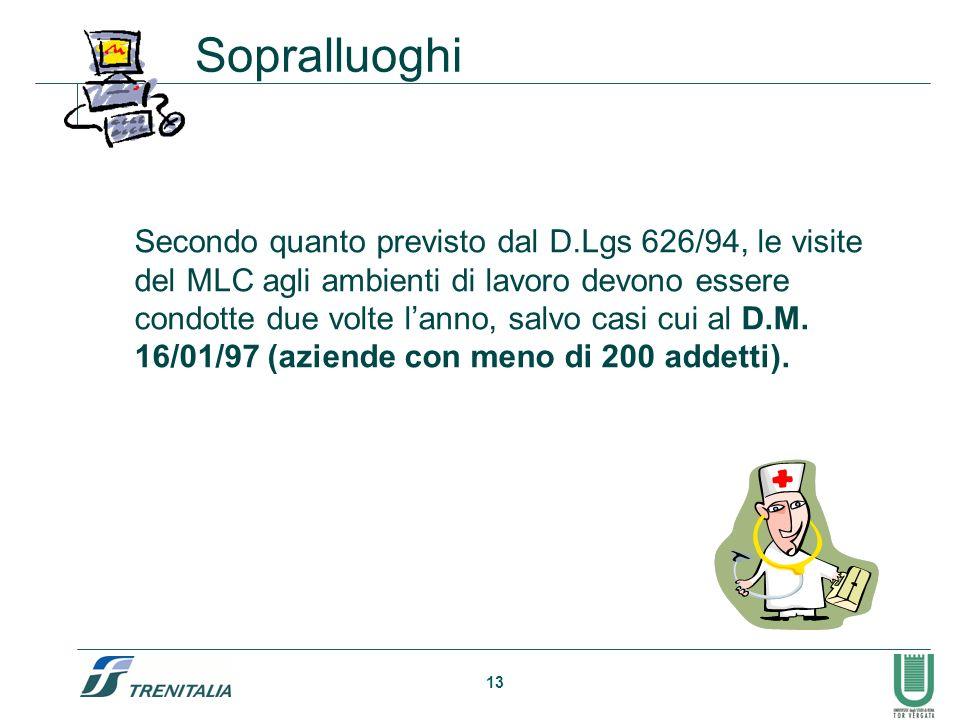 13 Secondo quanto previsto dal D.Lgs 626/94, le visite del MLC agli ambienti di lavoro devono essere condotte due volte lanno, salvo casi cui al D.M.