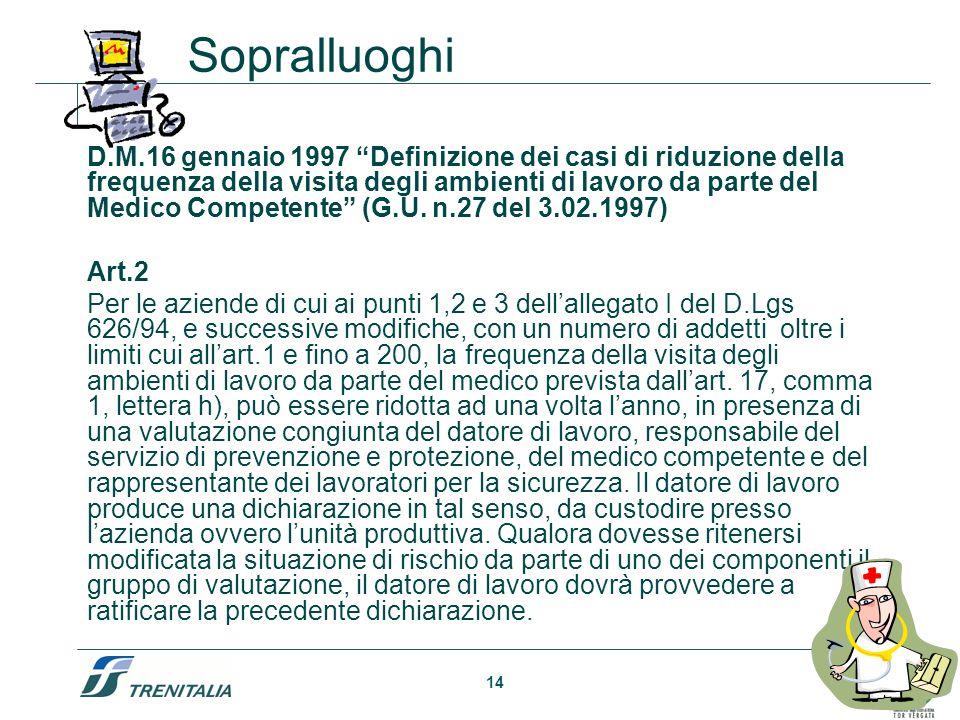 14 D.M.16 gennaio 1997 Definizione dei casi di riduzione della frequenza della visita degli ambienti di lavoro da parte del Medico Competente (G.U. n.