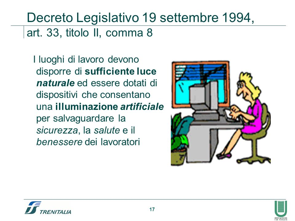 17 Decreto Legislativo 19 settembre 1994, art. 33, titolo II, comma 8 I luoghi di lavoro devono disporre di sufficiente luce naturale ed essere dotati