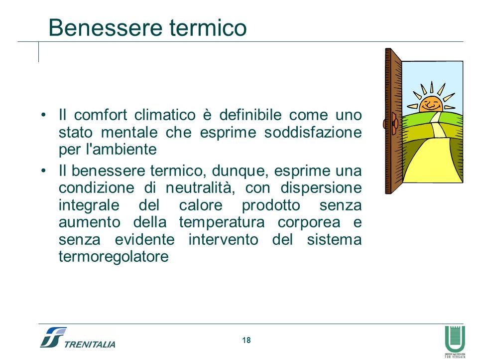 18 Benessere termico Il comfort climatico è definibile come uno stato mentale che esprime soddisfazione per l'ambiente Il benessere termico, dunque, e