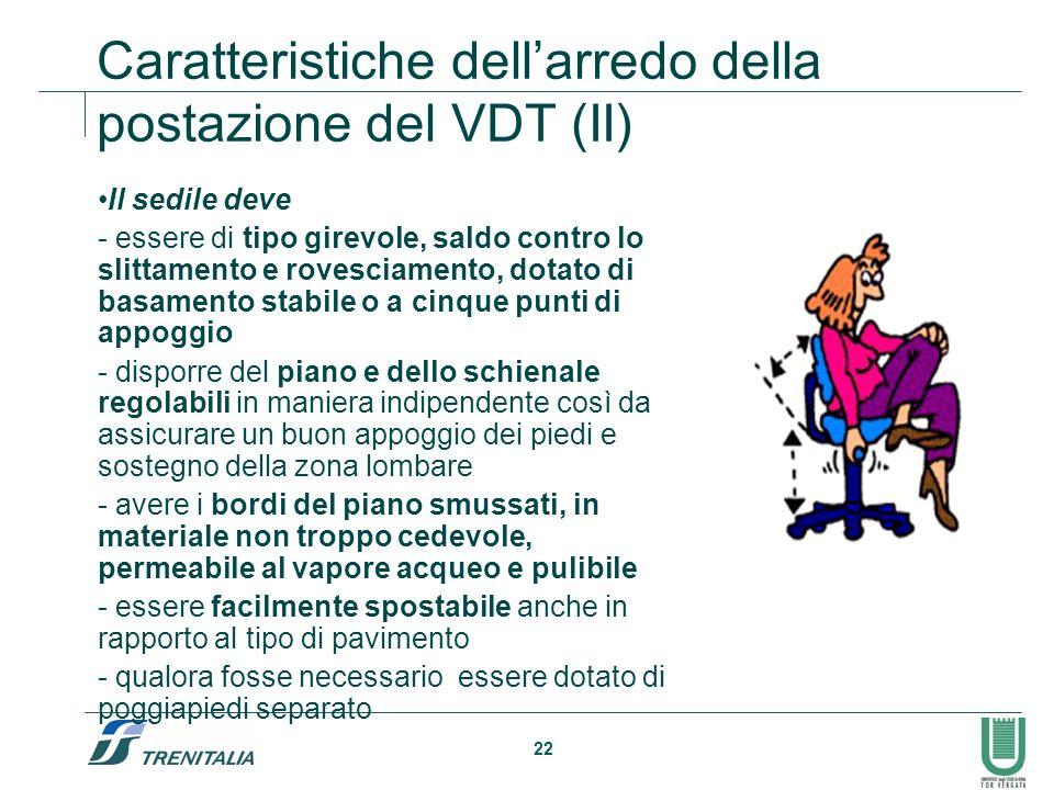 22 Caratteristiche dellarredo della postazione del VDT (II) Il sedile deve - essere di tipo girevole, saldo contro lo slittamento e rovesciamento, dot