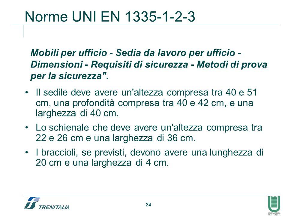 24 Norme UNI EN 1335-1-2-3 Il sedile deve avere un'altezza compresa tra 40 e 51 cm, una profondità compresa tra 40 e 42 cm, e una larghezza di 40 cm.