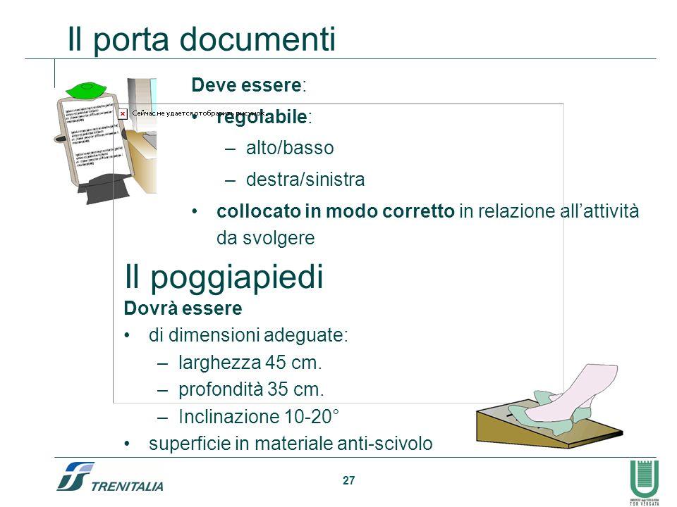 27 Il porta documenti Deve essere: regolabile: –alto/basso –destra/sinistra collocato in modo corretto in relazione allattività da svolgere Il poggiap