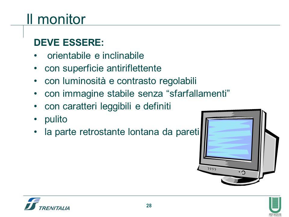 28 Il monitor DEVE ESSERE: orientabile e inclinabile con superficie antiriflettente con luminosità e contrasto regolabili con immagine stabile senza s