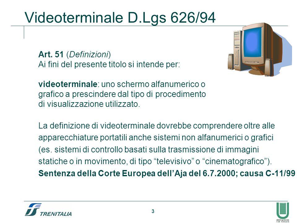 3 Videoterminale D.Lgs 626/94 Art. 51 (Definizioni) Ai fini del presente titolo si intende per: videoterminale: uno schermo alfanumerico o grafico a p