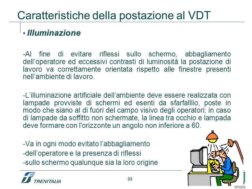33 Caratteristiche della postazione al VDT Illuminazione -Al fine di evitare riflessi sullo schermo, abbagliamento delloperatore ed eccessivi contrast