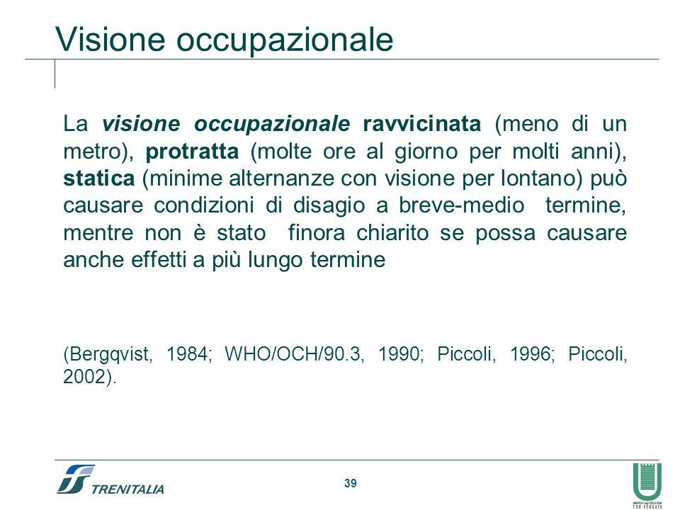 39 Visione occupazionale La visione occupazionale ravvicinata (meno di un metro), protratta (molte ore al giorno per molti anni), statica (minime alte