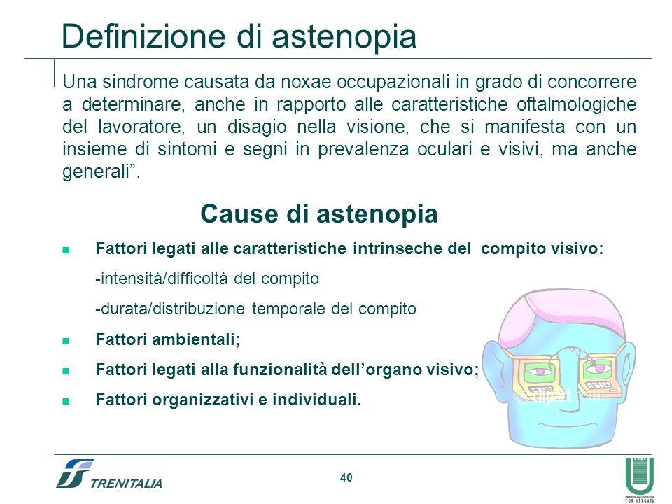 40 Definizione di astenopia Una sindrome causata da noxae occupazionali in grado di concorrere a determinare, anche in rapporto alle caratteristiche o