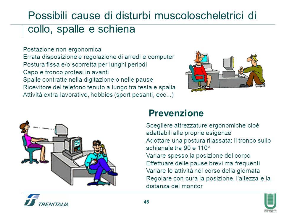46 Possibili cause di disturbi muscoloscheletrici di collo, spalle e schiena Postazione non ergonomica Errata disposizione e regolazione di arredi e c