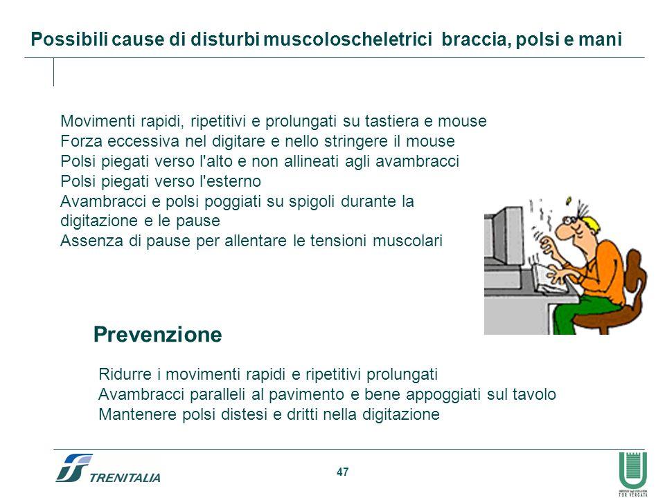 47 Possibili cause di disturbi muscoloscheletrici braccia, polsi e mani Movimenti rapidi, ripetitivi e prolungati su tastiera e mouse Forza eccessiva